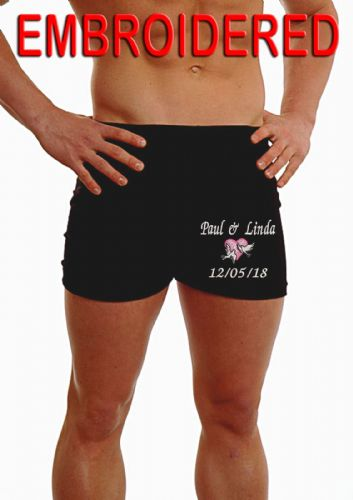 PERSONALISED MENS HIPSTER BOXER SHORTS - 2 DOVES/HEART EMBROIDERED - WEDDING - ON THE LEG